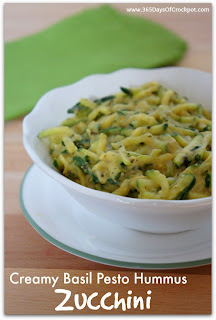 Creamy Basil Pesto Hummus Zucchini Recipe.  Only 2 ingredients and so delicious.  This is my new favorite side dish!