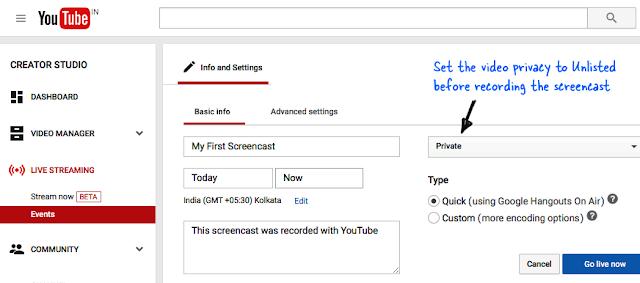 Cara Merekam Layar Desktop dengan YouTube