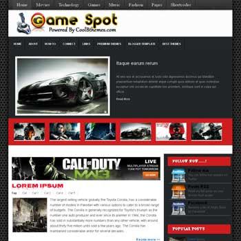 Game Spot blogger template. template blogspot free