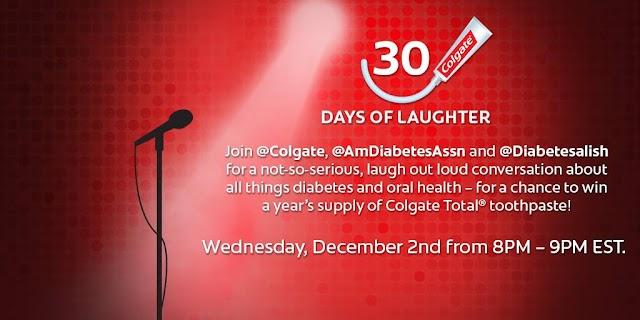 12/2 @ 8PM: You, Me, Colgate Total & The American Diabetes Association =  #30DaysofLOL Twitter Chat