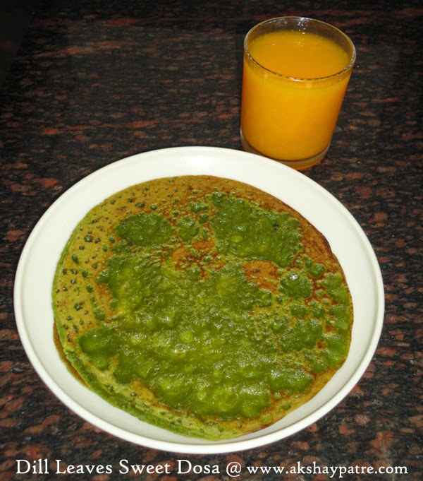 Dill leaves sweet dosa in serving plate