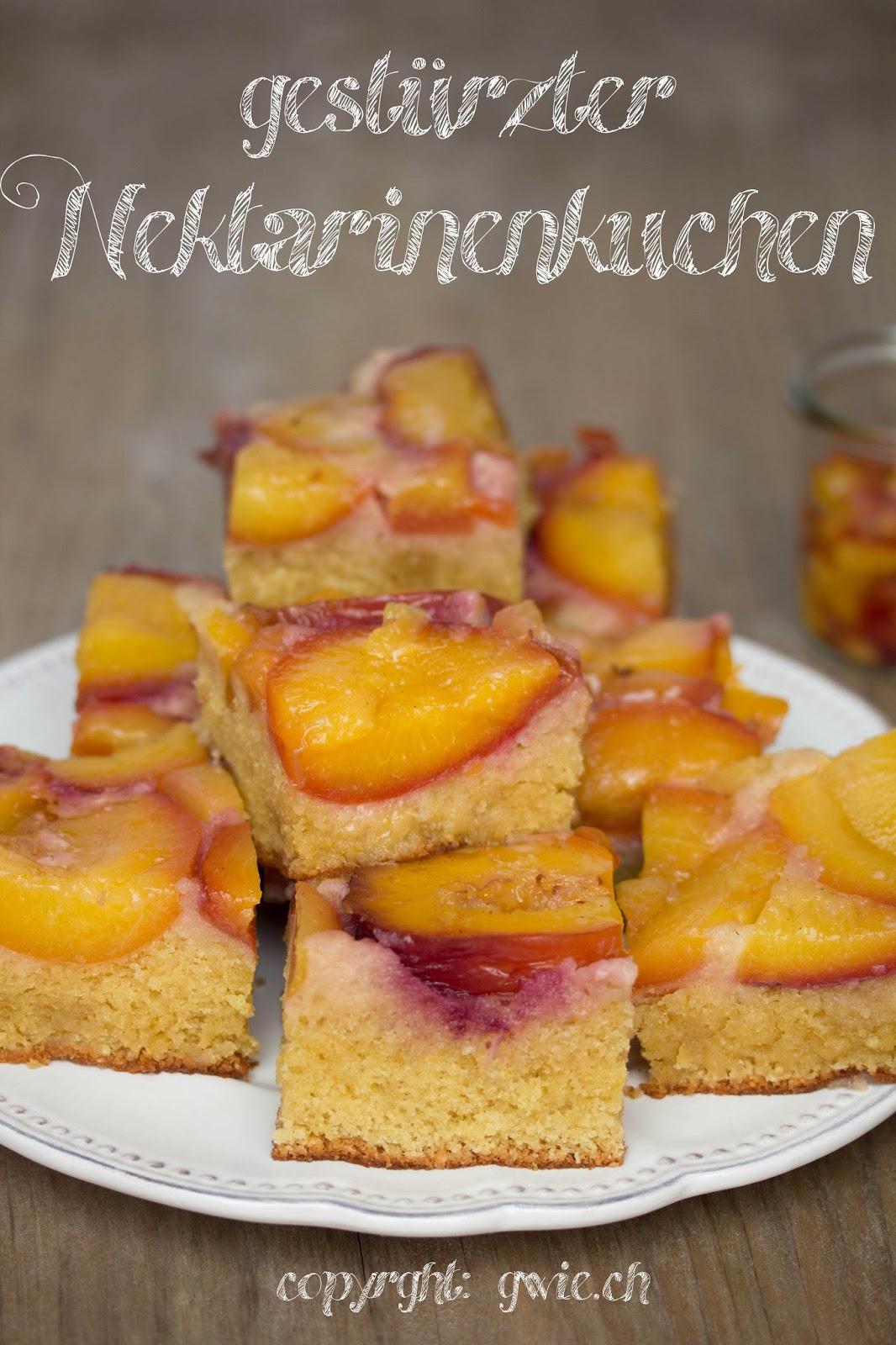 nektarinenkuchen, gestürzter kuchen, verkehrt gebackener kuchen
