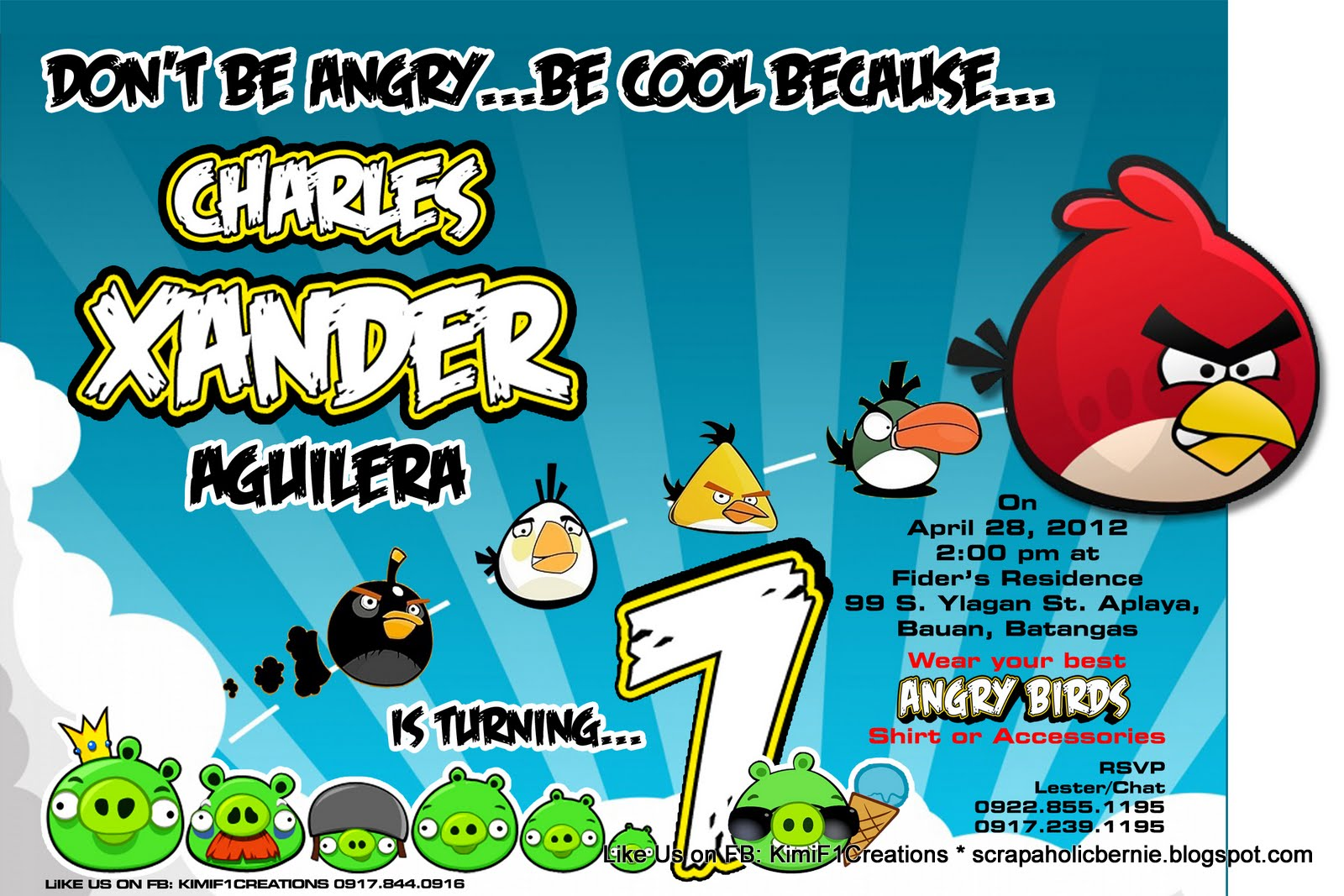 F1 Digital Scrapaholic One Page 2D Angry Birds Invites