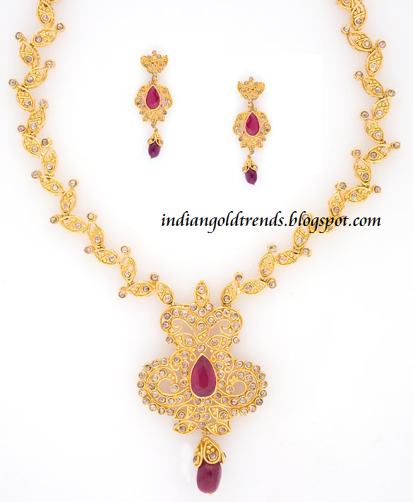 Indian Simple Gold Necklace Designs Check out Simple uncut diamond