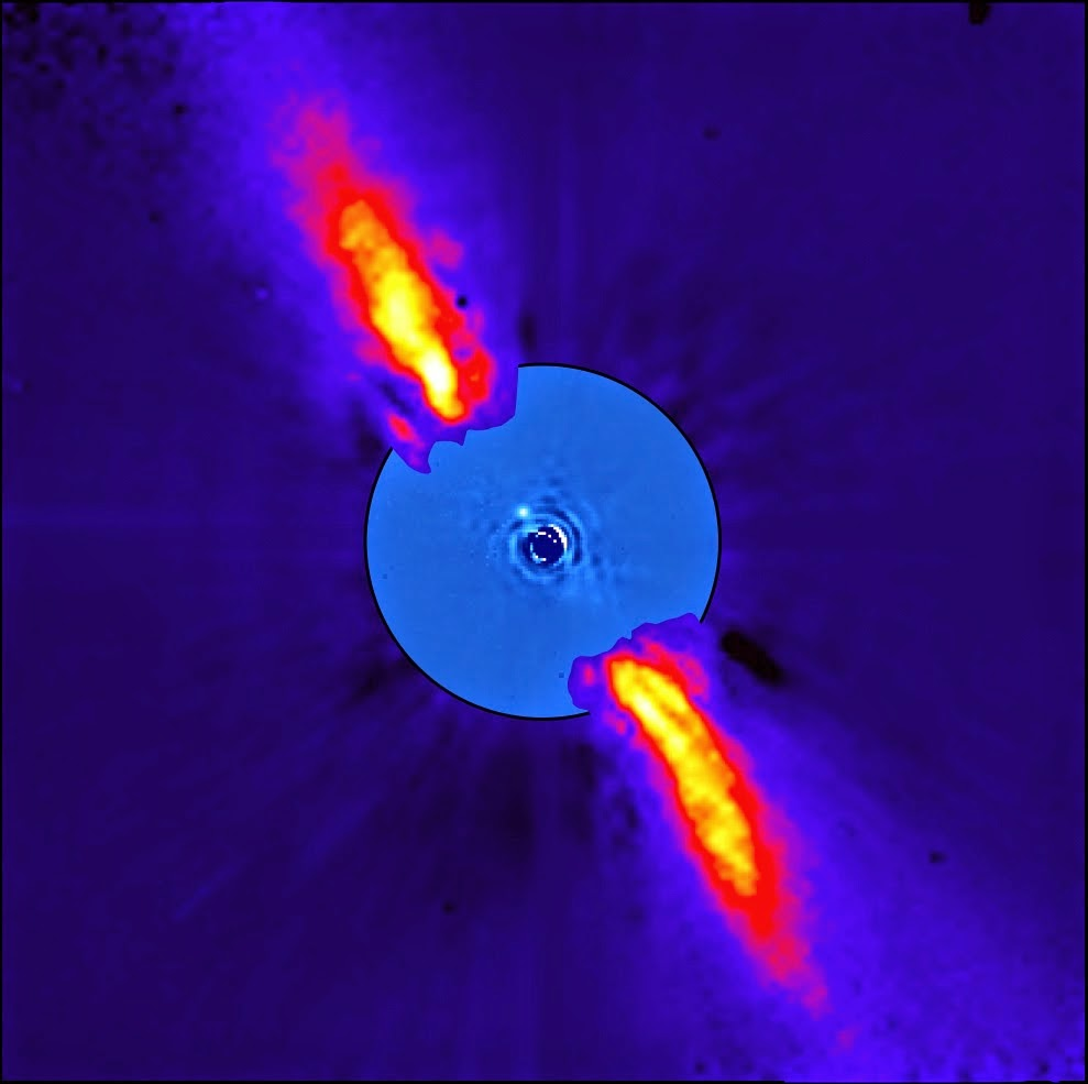 This composite image represents the close environment of Beta Pictoris as seen in near infrared light. This very faint environment is revealed after a very careful subtraction of the much brighter stellar halo. The outer part of the image shows the reflected light on the dust disc, as observed in 1996 with the ADONIS instrument on ESO's 3.6 m telescope; the inner part is the innermost part of the system, as seen at 3.6 microns with NACO on the Very Large Telescope. The newly detected source is more than 1000 times fainter than Beta Pictoris, aligned with the disc, at a projected distance of 8 times the Earth-Sun distance. This corresponds to 0.44 arcsecond on the sky, or the angle sustained by a one Euro coin seen at a distance of about 10 kilometres. Because the planet is still very young, it is still very hot, with a temperature around 1200 degrees Celsius. Both parts of the image were obtained on ESO telescopes equipped with adaptive optics. Credit: ESO/A.-M. Lagrange et al.