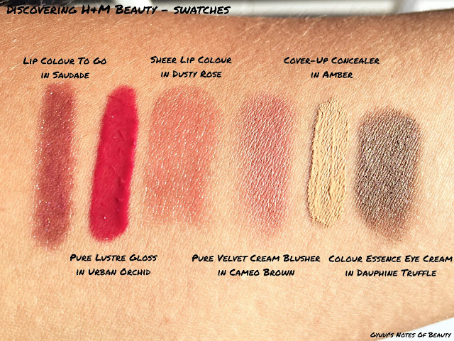 H&M, Swatches, Saudade, Urban Orchid, Dusty Rose, Cameo Brown, Concealer, Dauphine Truffle