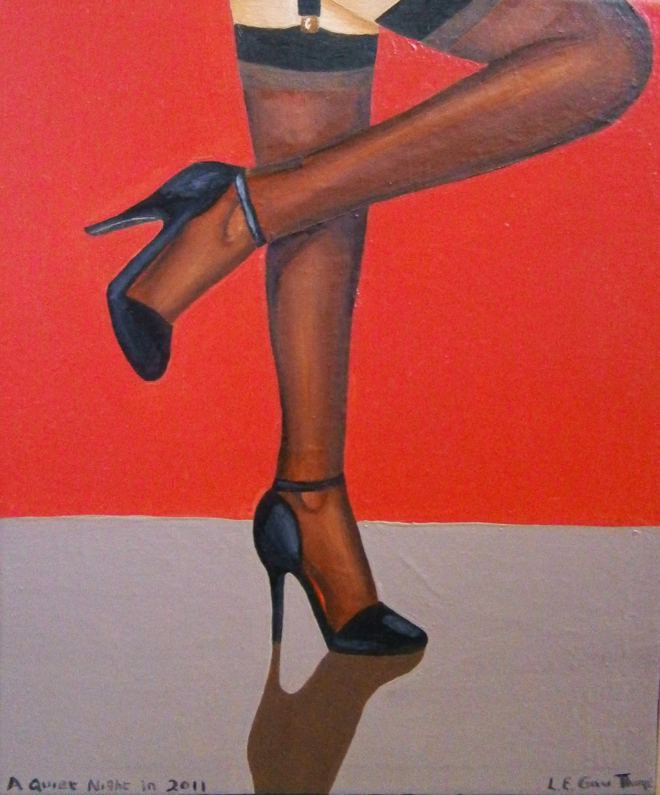 A woman wearing dark stocking and black heels
