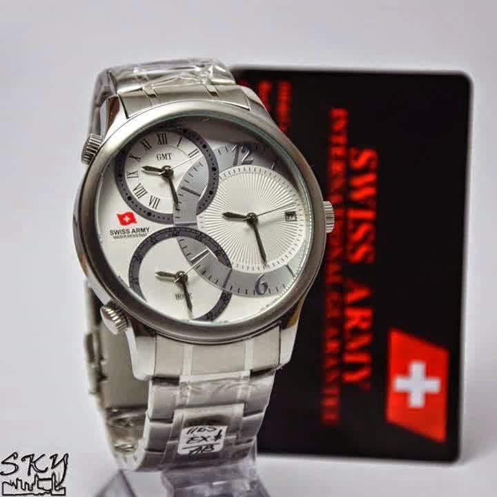 Swiss Army SA 1165 SS Triple Time ss Putih
