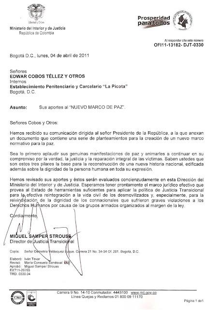Respuesta por parte del Dr. Miguel Samper en nombre del Gobierno Nacional
