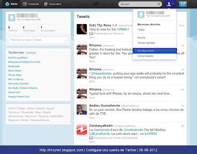 Acceder al apartado de configuración de Twitter