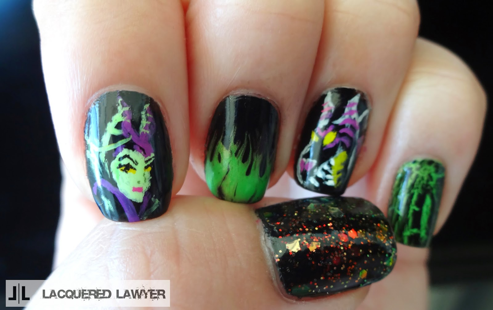 Lacquered Lawyer | Nail Art Blog: Maleficent Nail Art