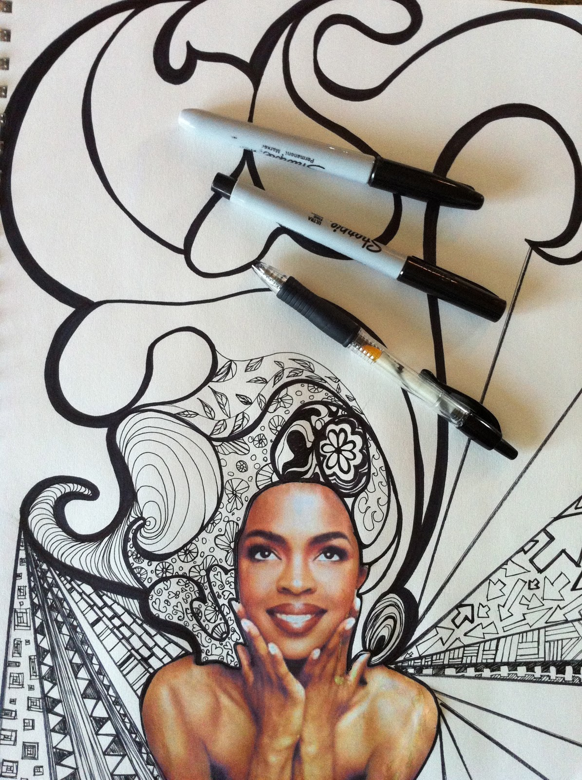 Line Art Lesson Plans : Project art a day lesson bad hair line and shape