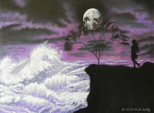 Turmoil by Ruth Kelly, www.ruths-world.com, Purple Seascape, Oil painting