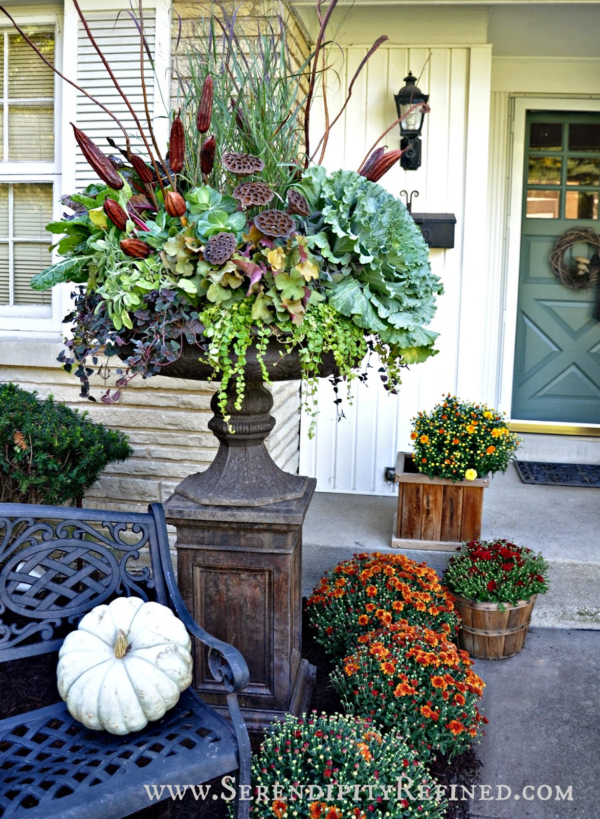 Serendipity refined blog fall porch and urn decorations - Outdoor dekoration ...