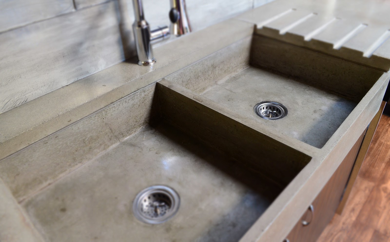 Countertop Kitchen Sink : This modern, double farm-style, apron concrete sink is massive in size ...