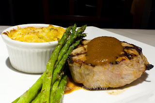 Double Cut Pork Chop, Poblano and Bacon Mac and Cheese, Smoked Onion BBQ Sauce, Asparagus