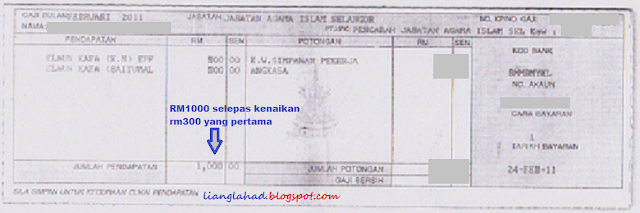 dalam slip gaji ni,gaji sudah naik sebanyak RM300 dari gaji lama RM700