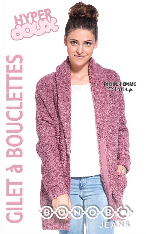 Gilet rose à bouclettes BONOBO