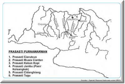 Peta lokasi prasasti Punawarman