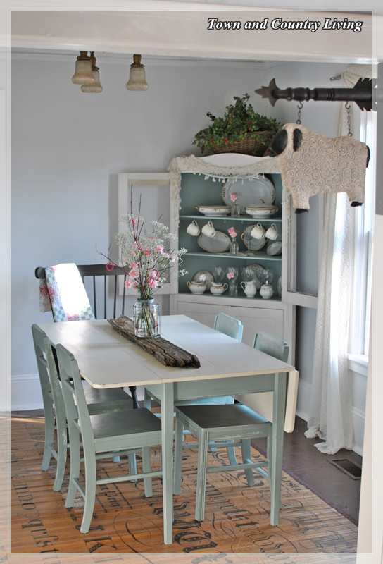 Dining room updates town country living for Duck egg dining room ideas
