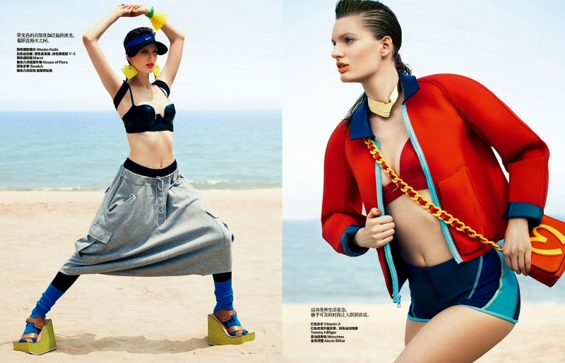'Life is a Beach' Carolina Sjostrand models sporty swim looks for Harper's Bazaar China