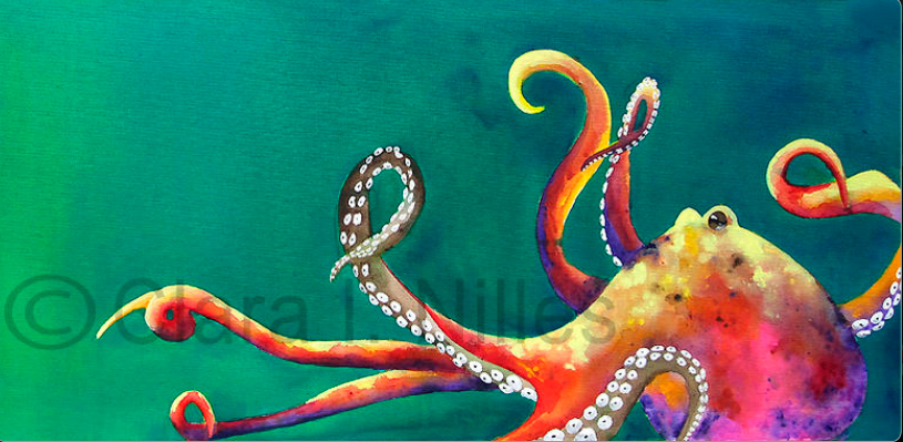 Archival arts impressions clara nilles showcases her for Colorful octopus painting