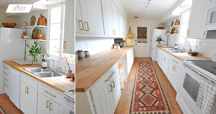 Modern White Eclectic Kitchen DIY Renovation Before and After Kilim Rug Butcher block countertop