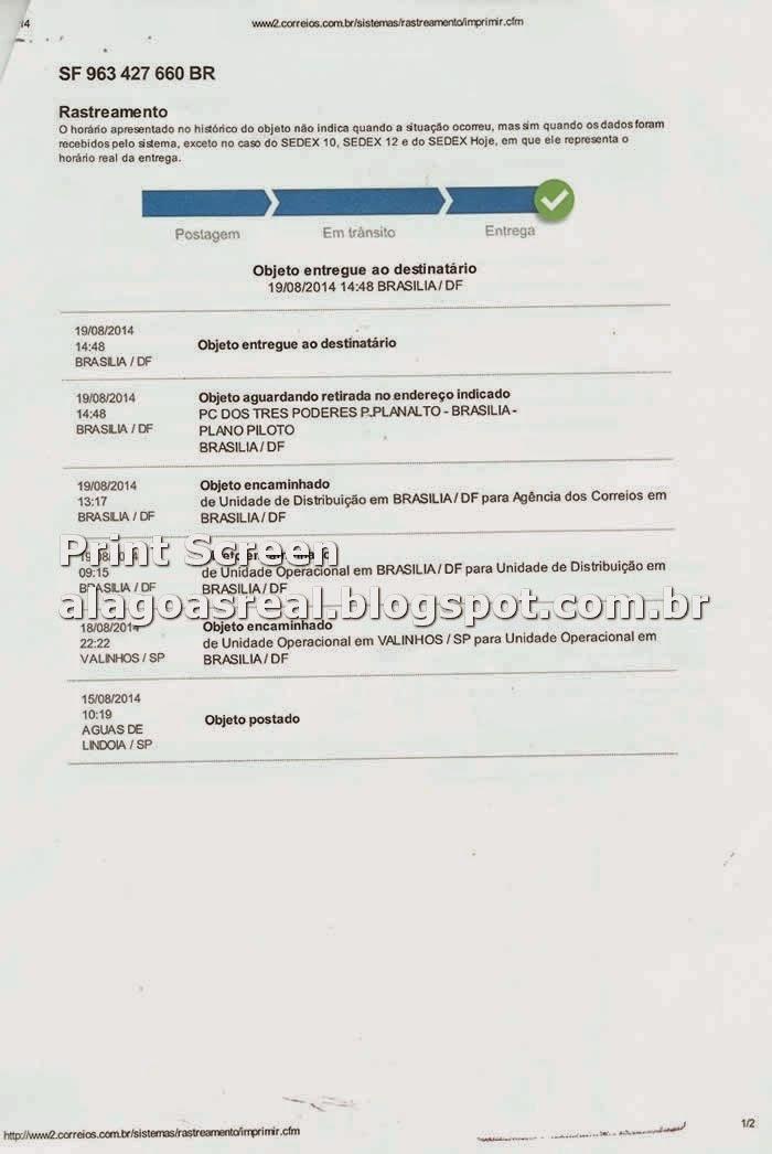 Print Screen  Rastreamento do SEDEX da carta de Jucelino