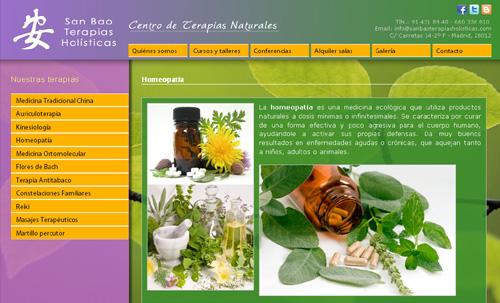 página web de San Bao Terapias Holísticas (Centro de Terapias Naturales en Madrid Centro)