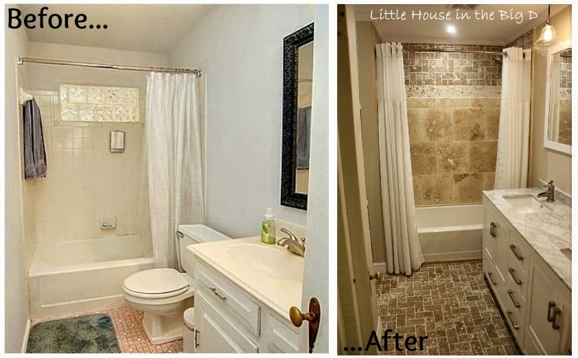 Little house in the big d bathroom remodel before and for Bath remodel before and after pictures