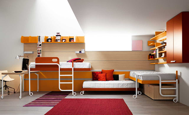 the-Astonishing-Shared-Kid-Bedroom-Furniture-Design-With-Triplets-In-White-Wall-Paint-Nuance-Also-Amazing-Furnitures-Design-And-Layout-In-Orange-And-Yellow-And-Brown-Wooden-Color-Accent