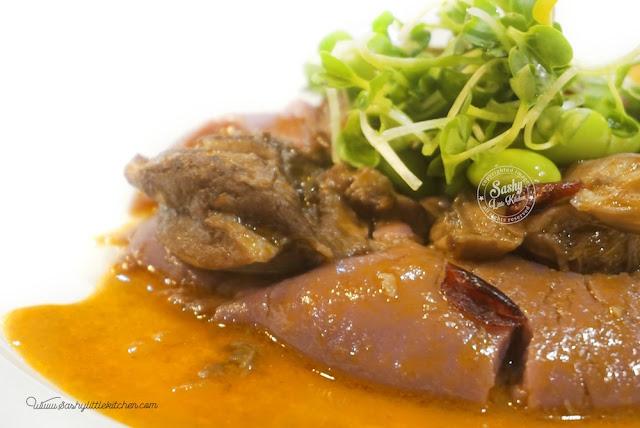 Coq Au Vin with sweet purple mash potatoes