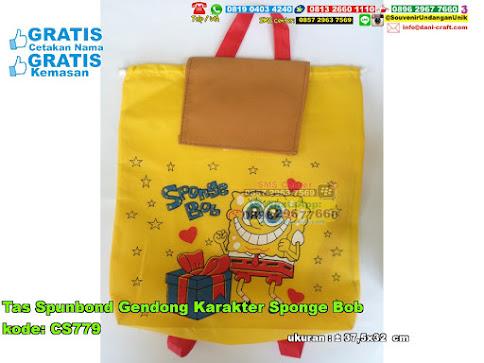 Tas Spunbond Gendong Karakter Sponge Bob