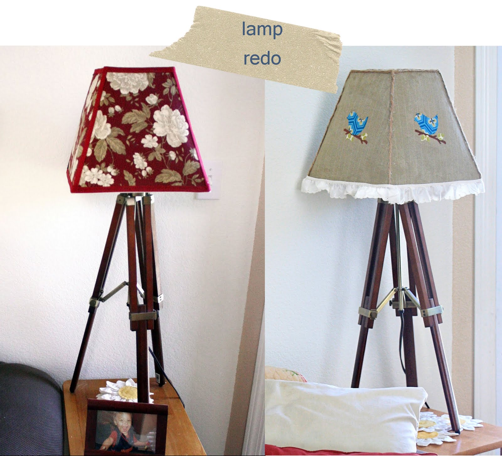 Notes from the plumb tree a lamp shade redo for Redoing lamp shades