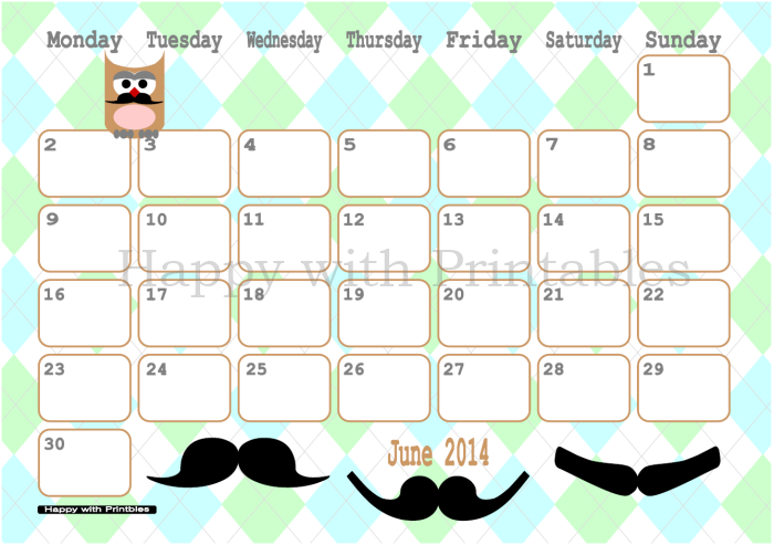 Calendar June 2014 Printable - Moustache - Owl - Cute Planner