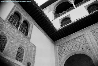 Patio de los Arrayanes. Court of the Myrtles. Alhambra. Granada. Spain.