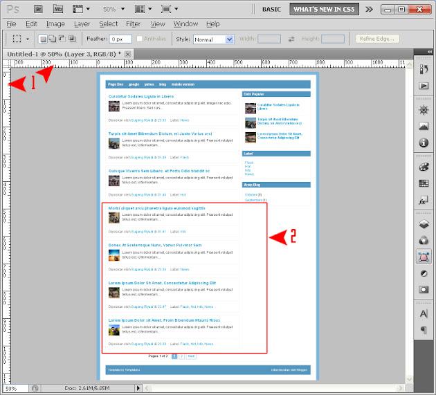 design blogspot template using photoshop