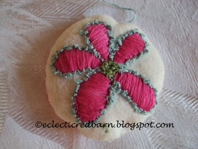 Eclectic Red Barn: hand embroidered ornament