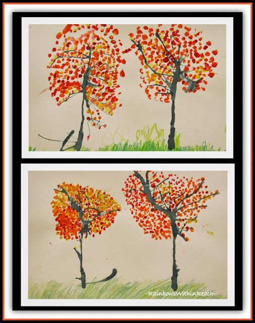 Fall Trees in Painted Pointillism via RainbowsWithinReach