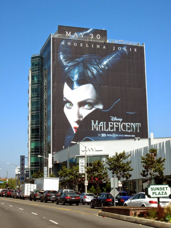 Giant Disney Maleficent movie billboard Sunset Strip