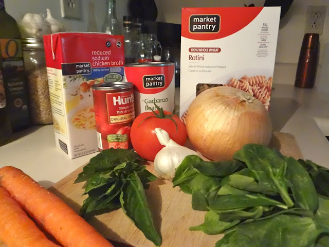 ingredients for veggie and chickpea soup