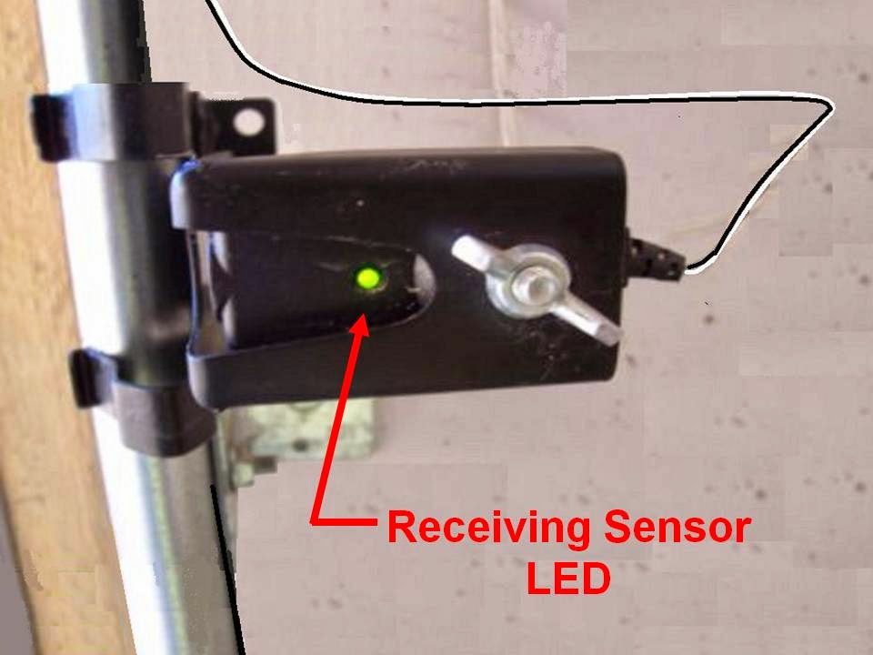 Garage door sensor used to safely open and close the door with a garage door opener.