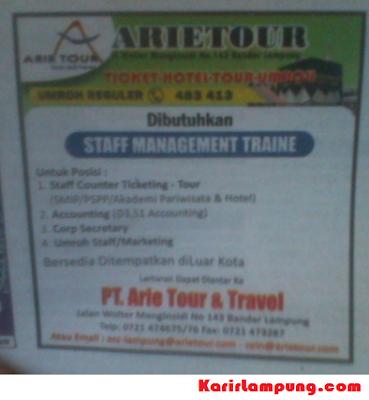 Lowongan Management Trainee PT. Arie Tour & Travel Lampung Terbaru Maret 2013