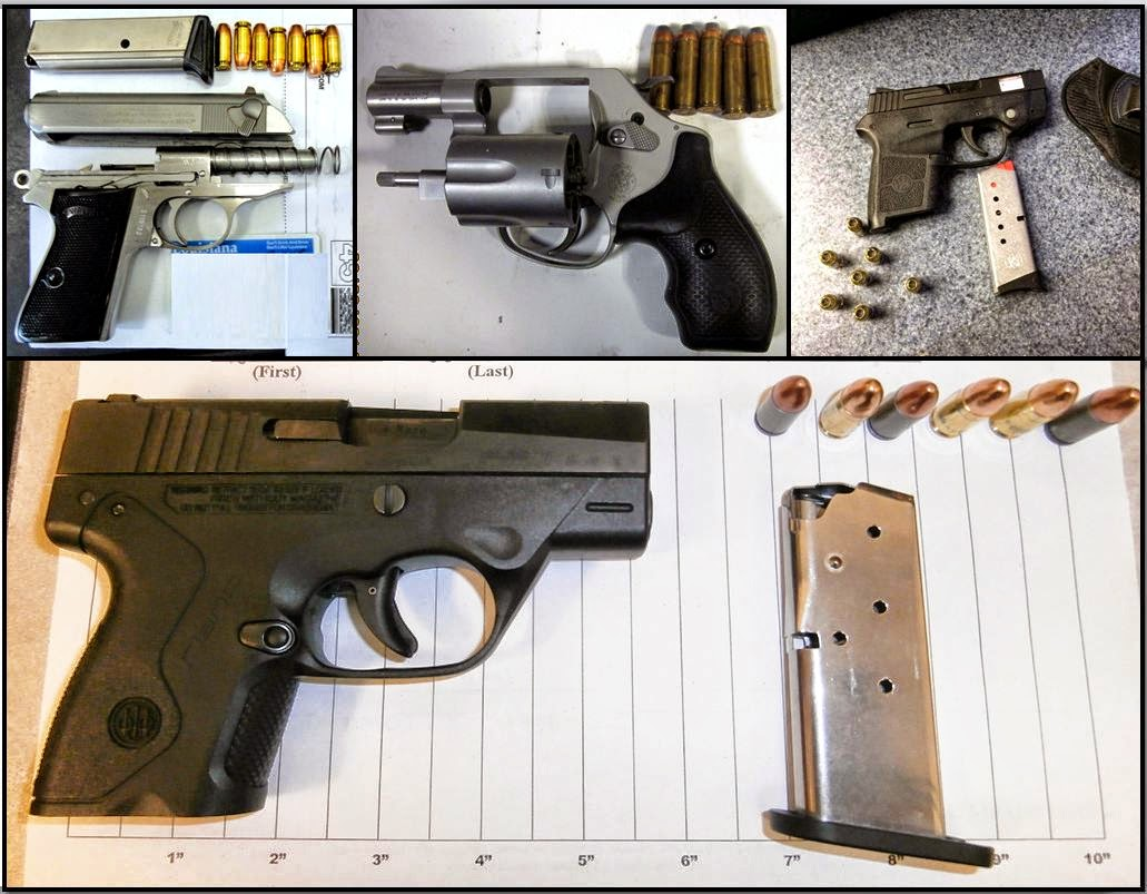 (L-R /T-B) Guns Discovered at MSY, JAN, COU, and PBG