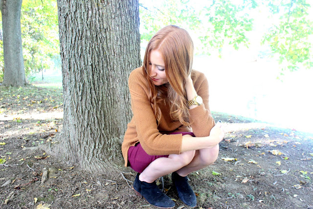 Fall OOTD Mustard sweater, burgundy skirt