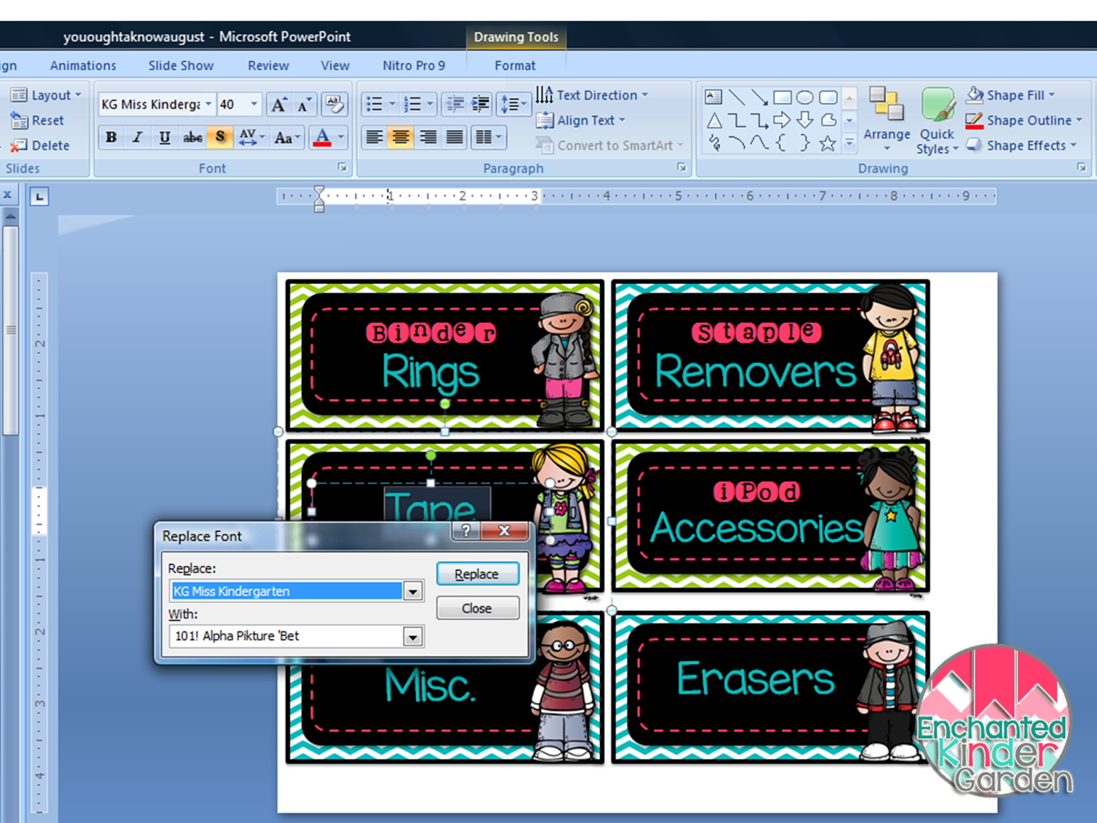 This is a screenshot of PowerPoint showing the Replace Font window.
