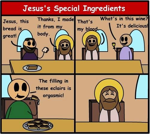 Funny Jesus' Special Ingredient Chocolate Éclairs Picture