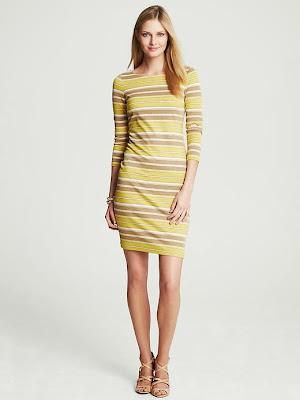 çizgili sarı beyaz elbise