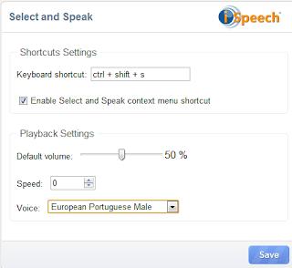 select and speak opções e definições
