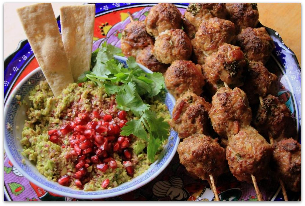 Mango Chiplote Meatballs with Mango Pomegranate Guacamole